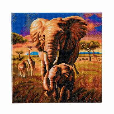 Diamond Painting Bild auf Keilrahmen gespannt, Elephant of the Savannah, runde Diamanten, ca. 30x30cm, Vollbild