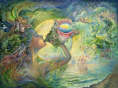 Josephine Wall, Call of the Sea, 90x67cm, 225 Farben, eckige Steine, Vollbild