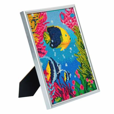 Diamond Painting Bild mit Bilderrahmen, Tropical Fish, runde Diamanten, ca. 21x25cm, Vollbild