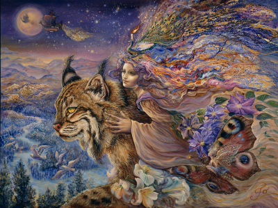 Josephine Wall, Flight of the Lynx, 100x75cm, 165 Farben, runde Steine, Vollbild