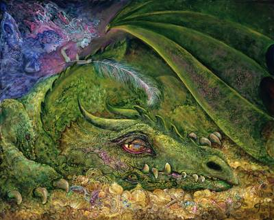 Josephine Wall, Never tickle a sleeping Dragon, 80x64cm, 215 Farben, eckige Steine, Vollbild