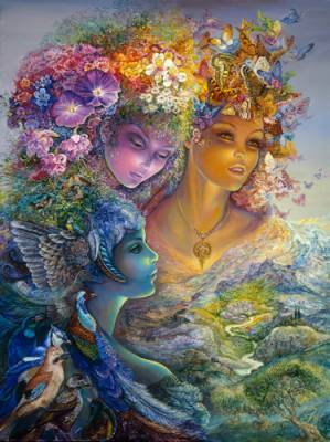 Josephine Wall, The Three Graces, 100x74cm, 270 Farben, runde  Steine, Vollbild