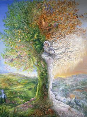 Josephine Wall, Tree Of Four Seasons, 100x75cm, 250 Farben, eckige Steine, Vollbild