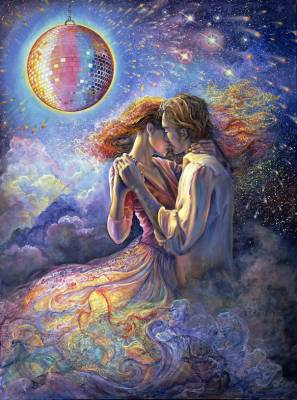 Josephine Wall, Love is in the Air, 100x74cm, 240 Farben, runde Steine, Vollbild