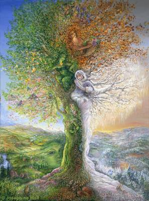 Josephine Wall, Tree Of Four Seasons, 110x83cm, 300 Farben, runde Steine, Vollbild