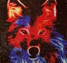 Diamond Painting Bild, Wolf, runde Strass-Diamanten, ca. 50x50cm, Vollbild